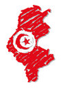 Sketch map flag Tunisia Royalty Free Stock Photography