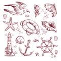 Sketch marine set. Sea ocean voyage lighthouse seagull starfish anchor steering wheel fish. Navy nautical hand drawn