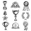 Sketch Medal Design Icon Set