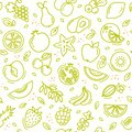 Sketch mixed fruits seamless summer pattern background vector format