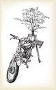 Sketch of motorbike classic with followers in Hanoi,
