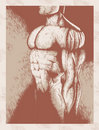 Sketch of muscle man Royalty Free Stock Photo