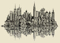 Sketch of new york vector illustration a fictitious Stock Photo