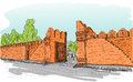 Sketch of old gate Tha Phae gate in Thailand, Chiangmai