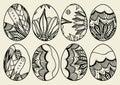 Sketch ornate Easter eggs