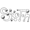 Sketch with pacman hand drawn phrase. Ink illustration. Freehand drawn. Isolated on white background.