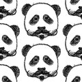 Sketch panda with mustache vector seamless pattern vintage Stock Photography