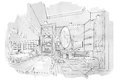 Sketch perspective interior bathroom , black and white interior design. Royalty Free Stock Photo