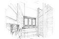 Sketch perspective interior toilet & bathroom , black and white interior design. Royalty Free Stock Photo