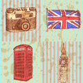 Sketch photo camera phone cabin uk flag and big ben b vintage background Royalty Free Stock Image