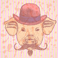 Sketch pig in hat with mustche, vector  ackground Royalty Free Stock Photo