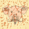 Sketch pig with mustache, vector background Royalty Free Stock Photo