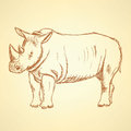 Sketch rhino, vector vintage background Royalty Free Stock Photo