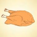 Sketch roasted turkey in vintage style
