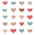Sketch Romantic Love Hearts Retro Doodles Icons Set Valentine Day Vector Illustration
