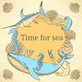 Sketch sea background in vintage style Royalty Free Stock Photo