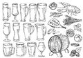 Sketch set of beer glasses and mugs in ink hand drawn style.