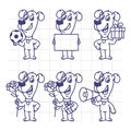 Sketch Set Character Dog Holding Ball Paper Flower Gift Megaphon Royalty Free Stock Photo