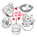 Sketch set of Easter symbols