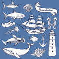 Sketch set of marine elements