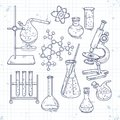Sketch set of various devices for chemical experiments Royalty Free Stock Photo