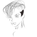 Sketch of sexy woman with short haircut and shaved temple black lines white background fashion style Stock Images