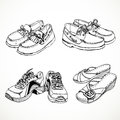 Sketch of shoes for men and women moccasins sneakers s slingbacks Stock Photography
