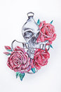 Sketch of a skull in roses on a white background.