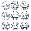 Sketch smiles. Doodle smiley in different emotions. Hand drawn smiling faces, emoticons vector set