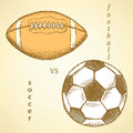 Sketch soccer versus american football ball Royalty Free Stock Photo