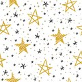 Sketch star seamless pattern. Starry sky with golden and black stars. Christmas and winter holidays vector doodle Royalty Free Stock Photo