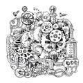 Sketch steampunk mechanism