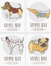 Sketch style drawing of the dogs cards set hand drawn Stock Photography