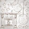 Sketch stylization marry Christmas vintage greetin Royalty Free Stock Photography
