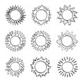 Sketch sun, Hand drawn sunshine symbols. Cute vector doodle suns