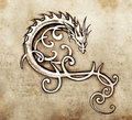 Sketch of tattoo art, decorative dragon Royalty Free Stock Photos