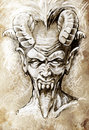 Sketch of tattoo art, devil head, gothic Stock Photo
