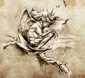 Sketch of tattoo art, gargoyle monster Stock Image