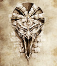 Sketch of tattoo art, rock gargoyle mask Stock Images