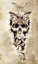 Sketch of tattoo art, skull, death Stock Image