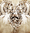 Sketch of tattoo art skull and dragons handmade illustration Royalty Free Stock Photography