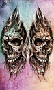 Sketch of tattoo art, skull head illustration Stock Photo