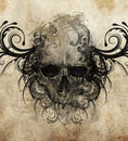 Sketch of tattoo art skull with tribal flourishes handmade illustration Royalty Free Stock Photo