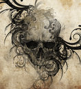 Sketch of tattoo art skull with tribal flourishes handmade illustration Royalty Free Stock Photography