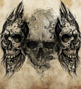 Sketch of tattoo art skulls handmade illustration Stock Image