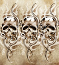Sketch of tattoo art skulls handmade illustration Royalty Free Stock Photos