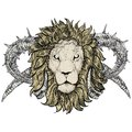 Sketch of tattoo lion with horns taurus horned emblem Stock Image