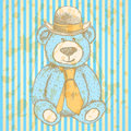 Sketch teddy bear in hat and cravat vector background vintage Royalty Free Stock Image