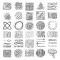 Sketch textures. Grunge shading shapes draw lines vector doodle collection set