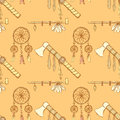 Sketch tomahawk, dream catcher and pipe Royalty Free Stock Photo
